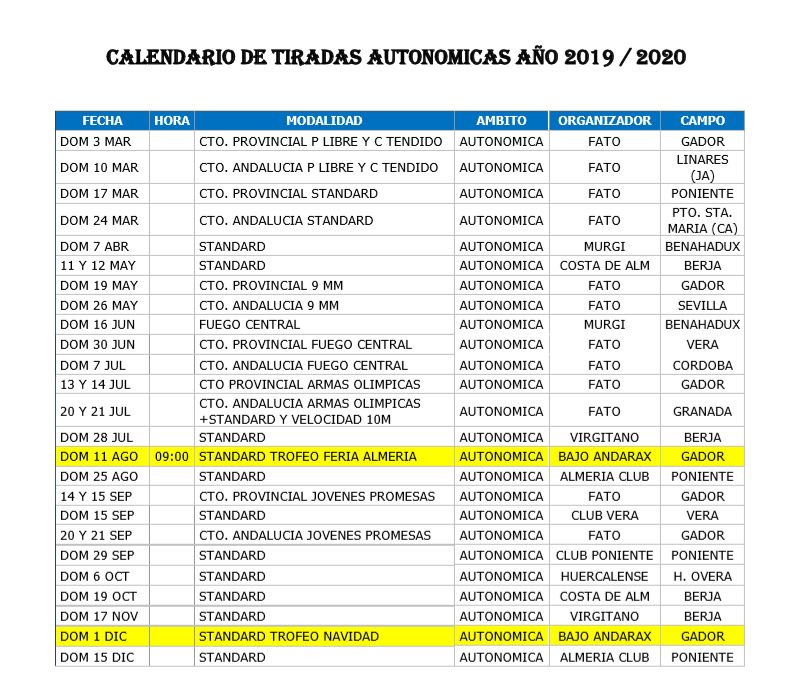 calendario autonomicas 2019